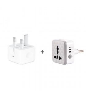 پک آداپتور ۲۰ وات اورجینال اپل + محافظ برق تایمر دار هادرون